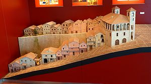 Day of Zamora - Model of Balborraz street, where the attackers' heads were displayed on pikes, in the Centre for the Interpretation of the Middle Ages Towns in Zamora, Spain.