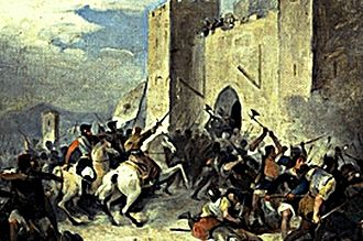 Battle of Sanluri - Depiction of the battle by Giovanni Marghinotti.