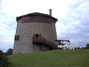 The Battlefields Park - Martello Tower No. 1. Note the reconstruction of the gun, carriage, and swiveling gun carriage platform that originally surmounted the tower.