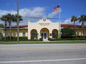 Jensen Beach, Florida - Fire Rescue Station 16 on Savanna Road serves Jensen Beach