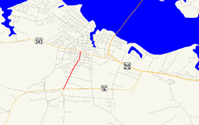 A map of Cambridge, Maryland showing major roads.  Maryland Route 341 runs from MD 16 to MD 343.