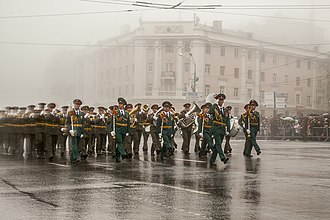 Western Military District - The military bands of the 20th Guards Army during a victory day parade in 2017.