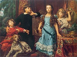 Jan Matejko - Portrait of the artist's four children. A late work of Matejko from 1879