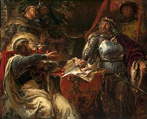 Polish–Teutonic War (1326–32) - King Ladislaus the Elbow-high breaking off agreements with the Teutonic Knights at Brześć Kujawski, a painting by Jan Matejko in the National Museum in Warsaw