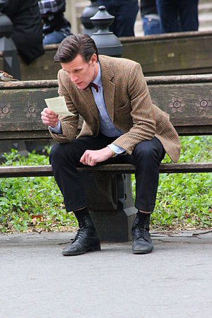 The Angels Take Manhattan - Matt Smith during filming of the episode in Central Park, New York, part of the final scene where the Doctor reads Amy Pond's afterword.