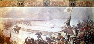 Battle of Hemmingstedt - The Battle of Hemmingstedt in a history painting of 1910 by Max Friedrich Koch, assembly hall of the former District Building in Meldorf. The legendary virgin Telse waving the banner of the then Ditmarsian patron saint Mary of Nazareth.