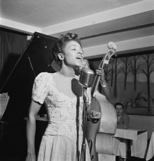 A photo of Maxine Sullivan in Village Vanguard, NYC around March 1947