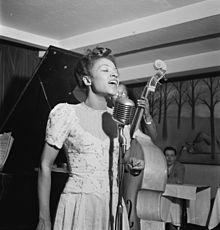 A photo of Maxine Sullivan in Village Vanguard, NYC around March 1947