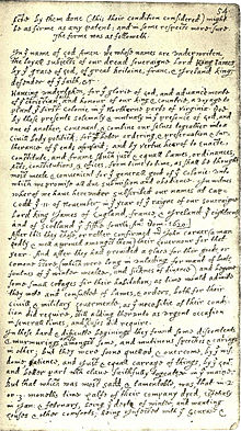 The Mayflower Compact was one of the first known written social contracts. (Image from: Wikipedia)