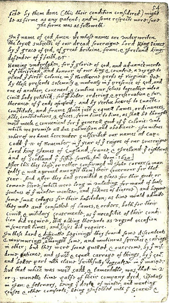 Mayflower Compact - Bradford's transcription of the Compact