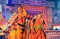 Mayurbhanj Chau artistes performing with depiction of Krishna and gopi, Bhubaneswar.jpg