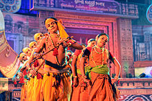 Mayurbhanj Chau artistes performing with depiction of Krishna and gopi, Bhubaneswar.jpg