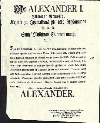 Diet of Finland - The sovereign's pledge, printed in Finnish