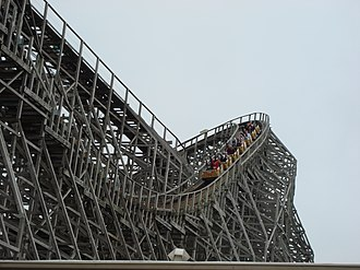 Wooden roller coaster - Mean Streak, a large former wooden roller coaster at Cedar Point in Sandusky, Ohio