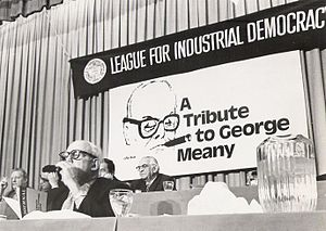 "George Meany - George Meany smoking his cigar, which also appears in the banner of the League for Industrial Democracy's ""Tribute to George Meany."""