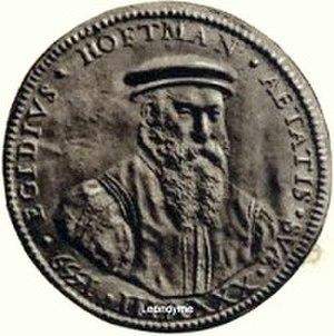 Gillis Hooftman - A medallion by Steven van Herwijck with a portrait of Gillis Hooftman