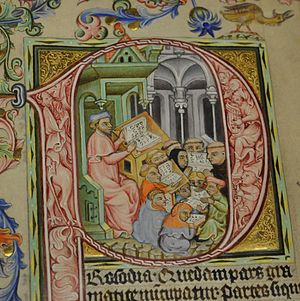 Charles University - Teacher and students shown in a medieval manuscript from Bohemia