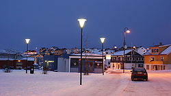 View of Mehamn on new year's day (during the polar night)