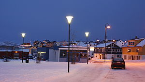 Gamvik - View of Mehamn on new year's day (during the polar night)