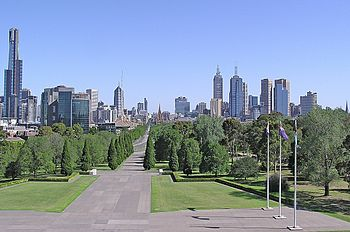 Melbourne CBD skyline viewed from top of the S...
