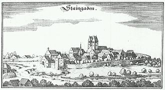 "Steingaden Abbey - Steingaden Abbey: copper engraving by Matthaeus Merian from the ""Topographia Germaniae"" of about 1644"