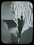 Mertz in an icy ravine, Adelie Land (Australasian Antarctic Expedition, 1911-1914) (6173422223).jpg