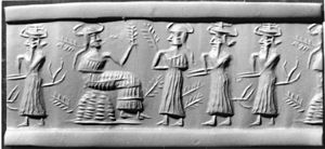 Ninhursag - Akkadian cylinder seal impression depicting a vegetation goddess, possibly Ninhursag, sitting on a throne surrounded by worshippers (circa 2350-2150 BC)