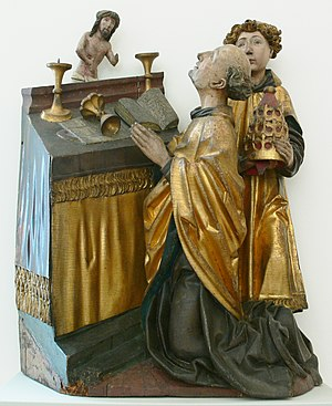Mass of Saint Gregory - A rare sculpted version of the Mass. German, 1480.