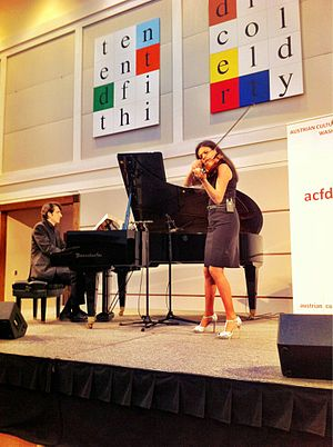 """Michael Kahr and Barbara Helfgott perform at the """"From Mozart to Michael Jackson"""" event at the Austrian Embassy in Washington"""