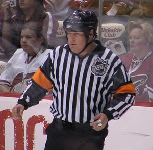 Mick McGeough - Mick McGeough officiating a game between the Colorado Avalanche and Phoenix Coyotes at Jobing.com Arena in 2007