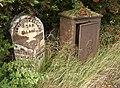 Milestone and fusebox, Dewsbury Road, Elland - geograph.org.uk - 232739.jpg