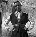 """Milka Ivančič iz Golca, oblečena v žensko čičko suknjo """"gugran"""" (rokavi manjkajo!), kašuljo, firtah, kanico in fačou 1955.jpg"""