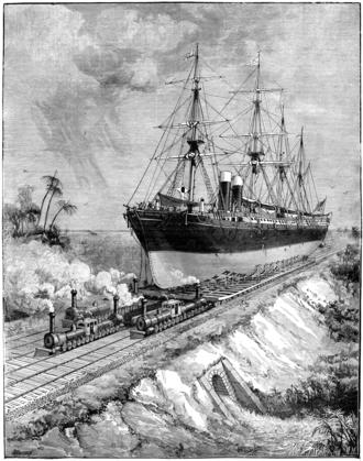 James Buchanan Eads - Contemporary illustration of Eads' proposal for an Interoceanic Ship Railway