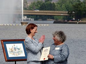 Miriam Margolyes - Margolyes shortly after being presented with her Australian citizenship certificate by then prime minister, Julia Gillard, during the 2013 National Flag Raising and Citizenship ceremony in Canberra