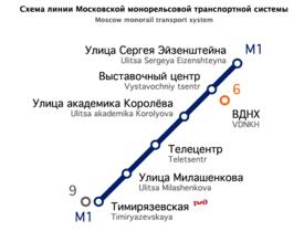 монорельсовая система в Москве, в Северо-Восточном административном округе, проходящая от станции метро...