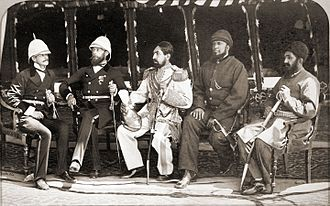 Second Anglo-Afghan War - Mohammad Yaqub Khan with Britain's Sir Pierre Cavagnari on May 26, 1879, when the Treaty of Gandamak was signed, photograph by John Burke.