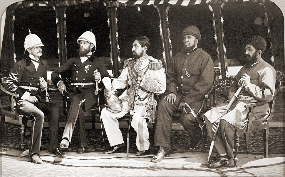 Mohammad Yaqub Khan with British officers in May of 1879