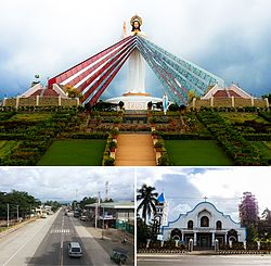 From left to right: Divine Mercy Shrine; Barangay Poblacion of El Salvador; Our Lady of the Snows Parish Church