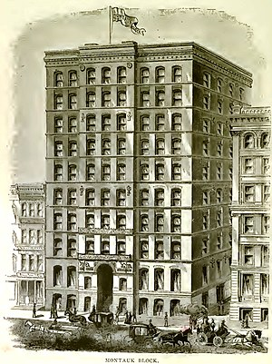 Montauk Building - Illustration of Montauk block, circa 1886. Originally published in Andreas' History of Chicago.