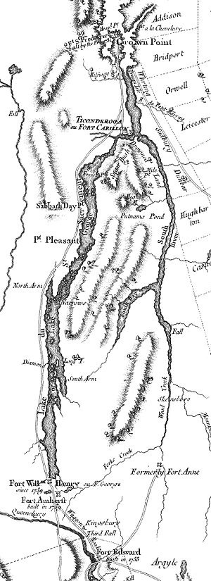"Battle of Carillon - Detail of a 1777 map showing the area between Crown Point and Fort Edward. Mount Defiance is labeled ""Sugar Bush""."