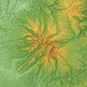 Mounts of Cantal - Relief map of the Cantal mounts