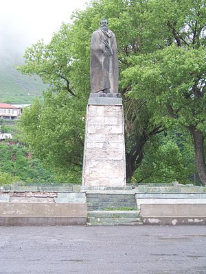 Alexander Kazbegi - Statue of Alexander Kazbegi in Stephantsminda, Georgia.