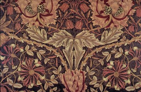 Antique William Morris Style Wool Fabric Textile w// Provenance