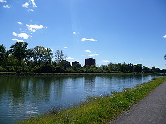 The College at Brockport, State University of New York - Mortimer Hall, seen on the right from across the Erie Canal. The weather radar for WHEC-10 sits atop the building.