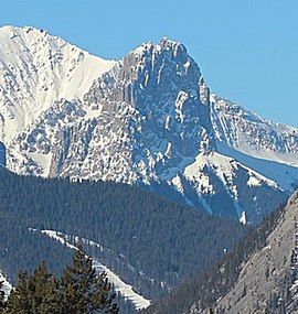 Mount Fifi seen from Johnson Lake Alberta Canada.jpg