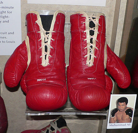 Muhammad Ali's boxing gloves are preserved in the Smithsonian Institution National Museum of American History. Muhammad Ali's boxing gloves.jpg