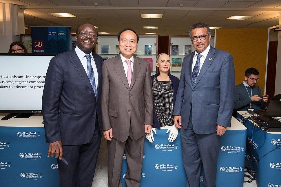 Mukhisa Kituyi, Houlin Zhao, Tedros Adhanom Ghebreyesus with Sophia - AI for Good Global Summit 2018 (41223188035)