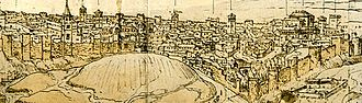 Christian Walls of Madrid - Detail drawing by Anton van den Wyngaerde in 1562, where is observed the Christian Walls of Madrid, since its start in the Muslim Walls near of the gate Puerta de la Vega (left) to the gate Puerta de Moros, in the current Plaza del Humilladero (at the right).