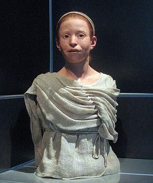 Plague of Athens - Α reconstructed appearance of Myrtis, an 11-year-old girl who died during the plague of Athens and whose skeleton was found in the Kerameikos mass grave, National Archaeological Museum of Athens