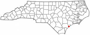 Surf City, North Carolina - Image: NC Map doton Surf City